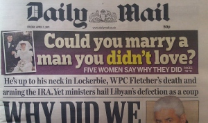 Could you marry a man you didn't love - trailed on the front page of the Daily Mail.