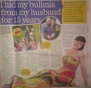 Bulimia story to a national newspaper